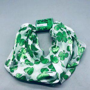 St. Patricks infinity scarf green white clovers 30